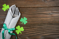 Flat lay view at St. Patricks day set with silverware fork, knife and napki - PhotoDune Item for Sale