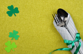 St. Patricks day flat lay set with silverware fork, spoon and napkin - PhotoDune Item for Sale