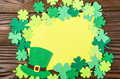 Happy Saint Patrick's greeting card mockup of handmade felt hat - PhotoDune Item for Sale