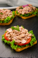 Tuna sandwiches with lettuce tomatoes pickles and onions on slate - PhotoDune Item for Sale