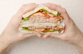 Wrapped Tuna sandwiches with lettuce tomatoes and onions cut in half in caucasian model's hand - PhotoDune Item for Sale