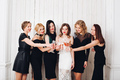 Beautiful girls in black dresses toasting with bride - PhotoDune Item for Sale