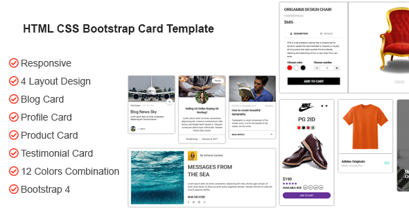 HTML CSS Bootstrap Card Template