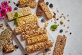 Various kinds of protein granola bars with dry fruits and berries - PhotoDune Item for Sale
