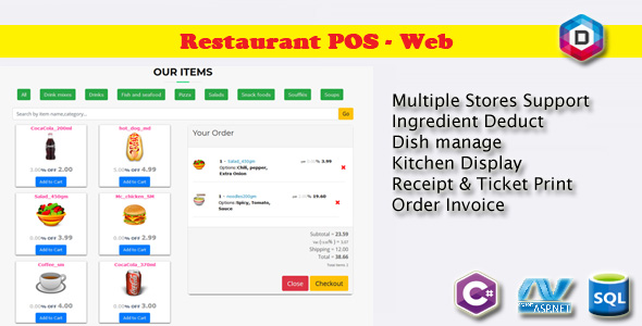 Restaurant Point of Sale - Rest POS WEB