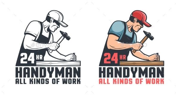 Handyman Retro Worker Hammering Nail