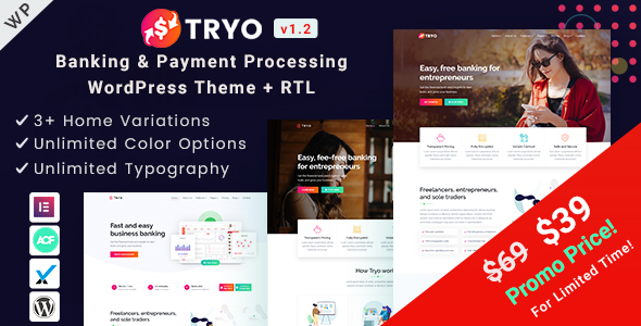 Tryo - Online Banking & Payment Processing WordPress Theme