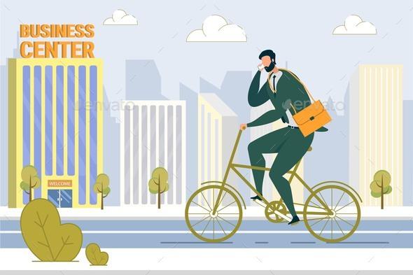 Businessman on Bicycle Flat Vector Illustration