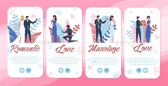 Valentines Day or Wedding Party Ceremony Card Set.