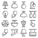 Lamp Icons Set on White Background Line Style - GraphicRiver Item for Sale