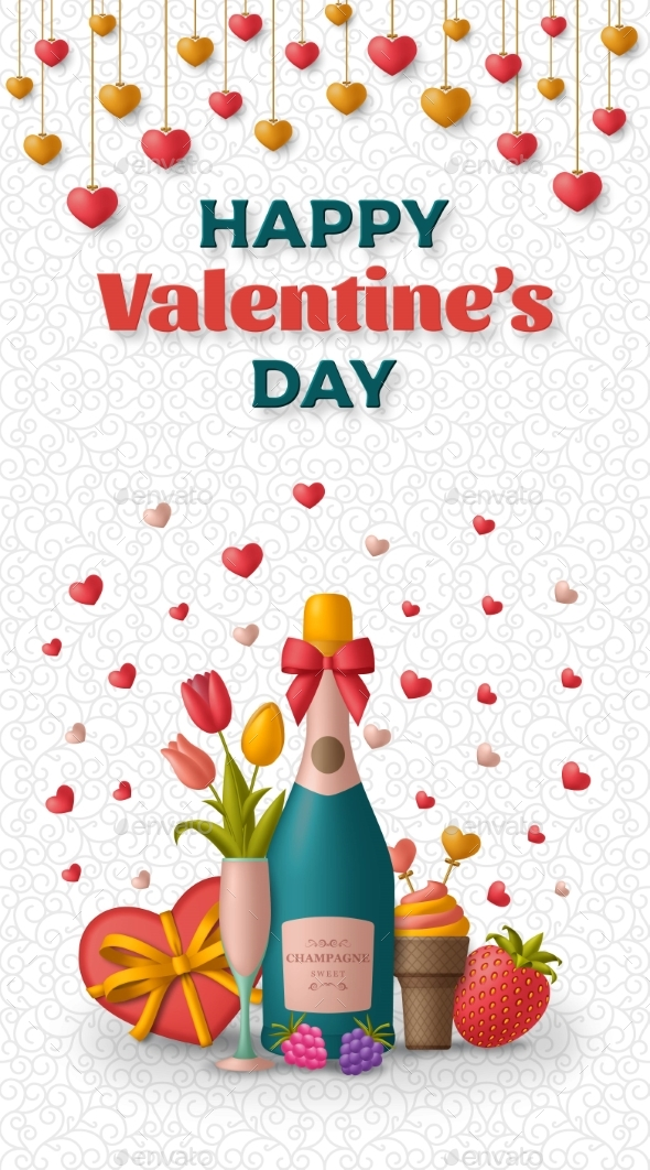 Happy Valentine Day Background with Champagne