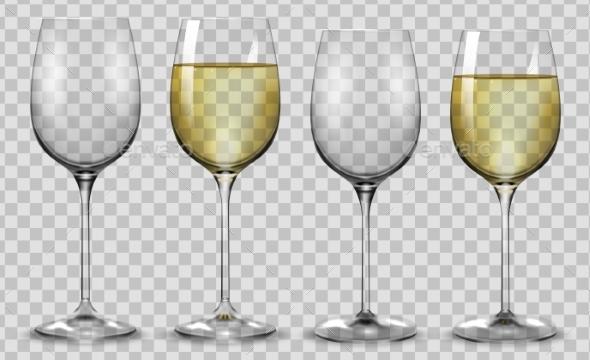 Full and Empty White Wine Glasses Vector