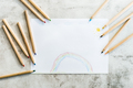 Color pencil. White paper with baby pattern. - PhotoDune Item for Sale