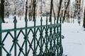 Metallic Fence On Snow Covered Land - PhotoDune Item for Sale