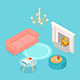 Isometric Living Room - GraphicRiver Item for Sale