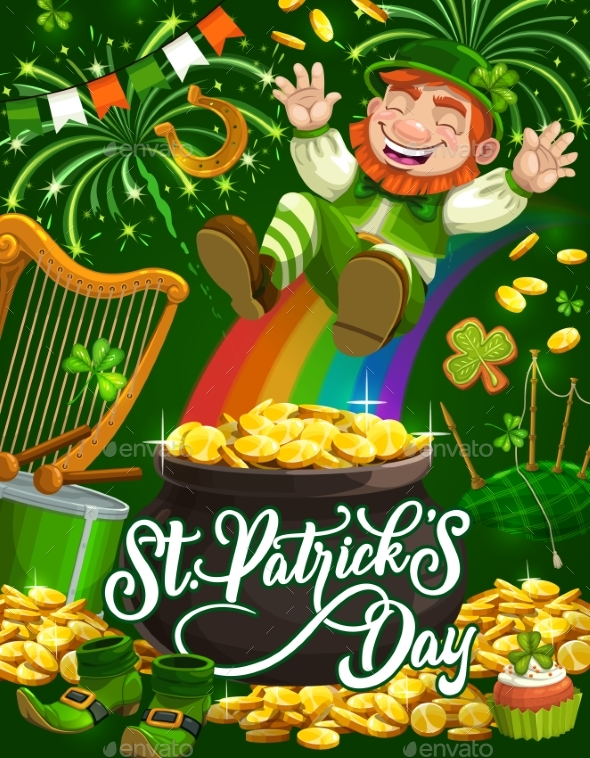 Leprechaun with Rainbow, and Pot of Gold