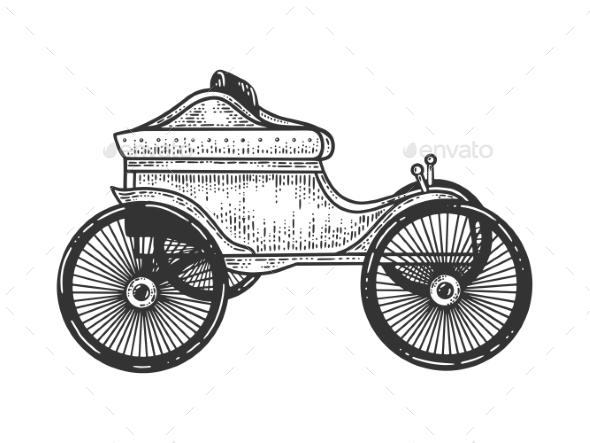 Old Car Transport Sketch Vector Illustration