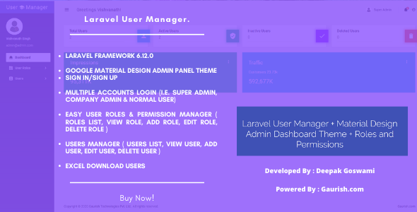 Laravel User Manager + Material Design Admin Dashboard Theme + Roles and Permissions