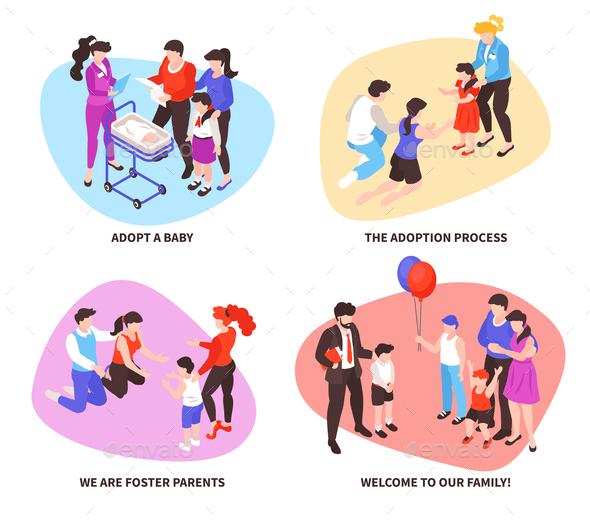 Adoption Isometric Concept