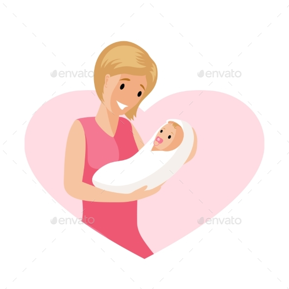 Woman and a Baby in Tender Embrace Vector Flat