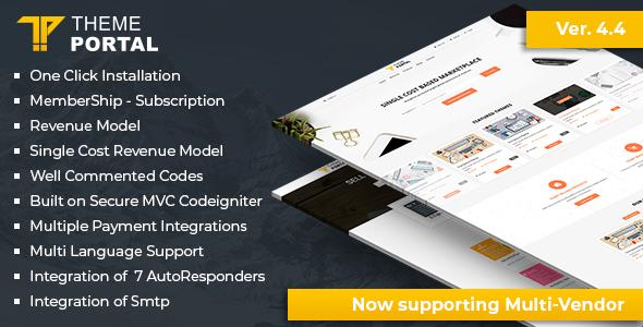Theme portal multi-vendor eCommerce marketplace - sell digital products, themes, plugins, php script