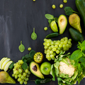 All green Vegetables and Fruits on Dark Background - PhotoDune Item for Sale