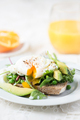 Toast and Poached Egg with Green Salad, Avocado and Peas - PhotoDune Item for Sale