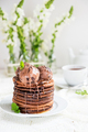 Stack of Homemade Chocolate Pancakes with Chocolate Ice-Cream - PhotoDune Item for Sale