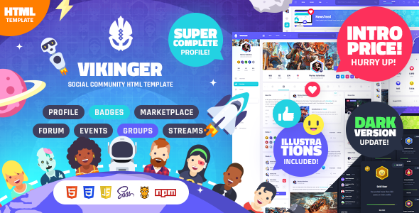 Vikinger - Social Community and Marketplace HTML Template
