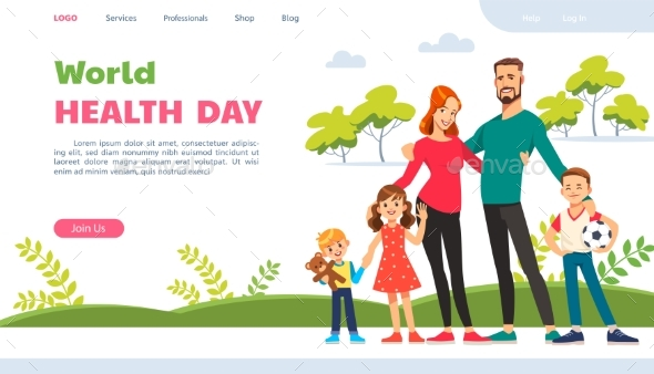 World Health Day Website Page with Happy Family