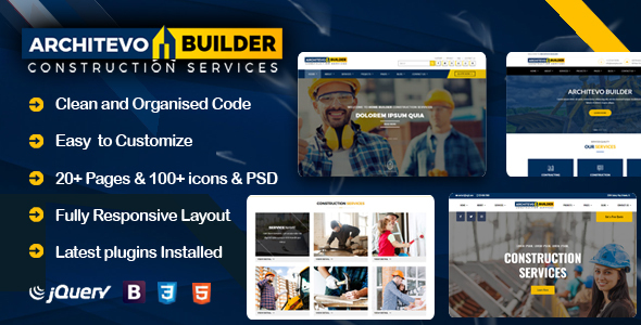 Architevo Builder Construction HTML5 Bootstrap Templates