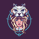 Girl with Robotic Wolf - GraphicRiver Item for Sale