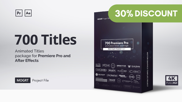 Mogrt Titles - 300 Animated Titles for Premiere Pro & After Effects