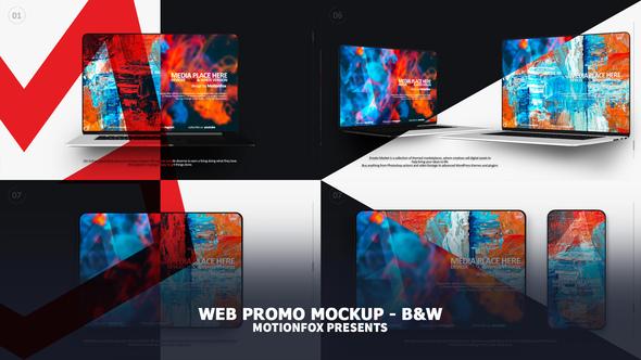 Website Presentation Devices Mockup - Black & White