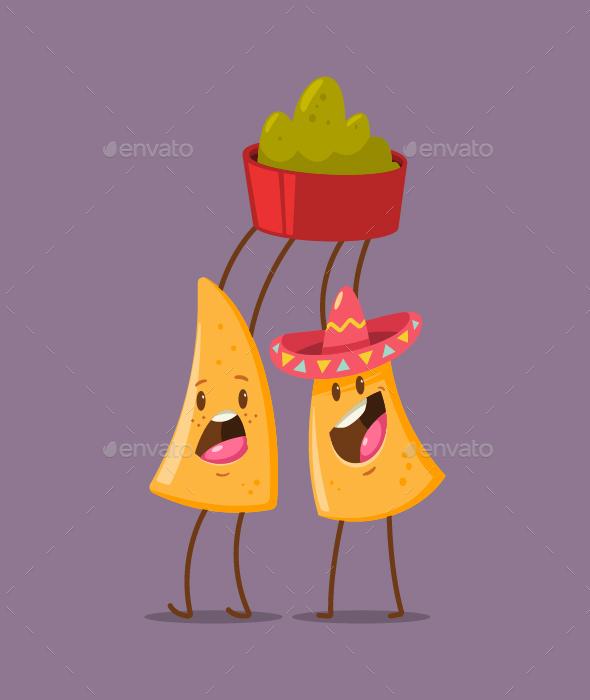 Mexican Food Vector Cartoon Characters