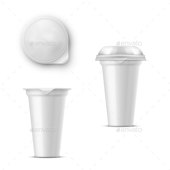 Round Glossy White Realistic Vector Pot with a Lid