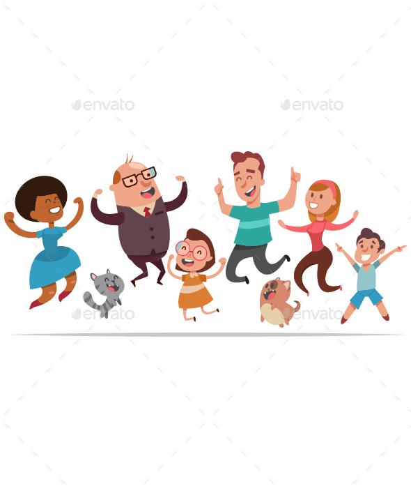 Happy People Jumping Vector Cartoon Set