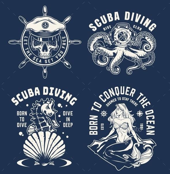 Vintage Monochrome Marine Emblems
