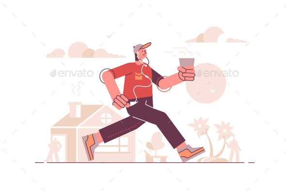 Man Running in Headset and Listening to Music