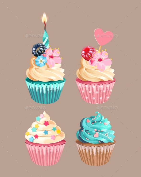Vector Set of High Detailed Varicolored Cupcakes