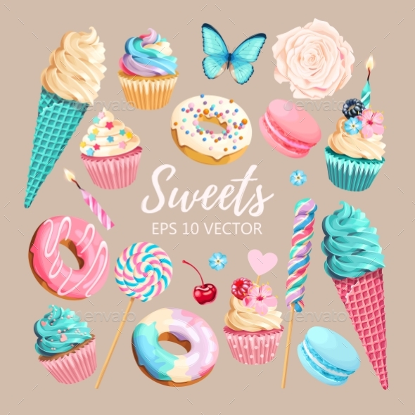 Vector Set of Ice Cream Muffins and Macaroons