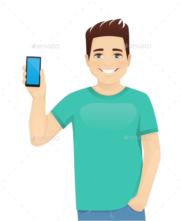 Young Man Showing Phone