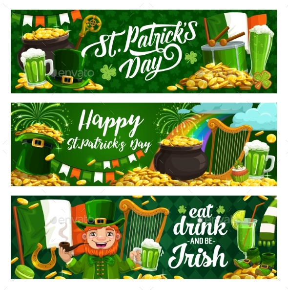 St Patrick Day Holiday Banners