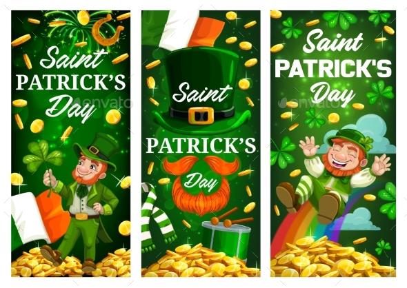 Patricks Day Leprechaun, Green Clover and Gold