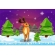 Winter Landscape with Christmas Tree and Deer - GraphicRiver Item for Sale