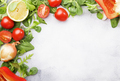 Healthy food background with various green herbs and vegetables - PhotoDune Item for Sale