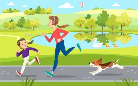 Mother and Daughter Jogging with Dog