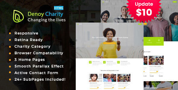 Denoy || Responsive HTML Template for Charity & Fund Raising