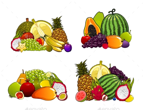 Exotic Farm Fruits Tropical Fruity Desserts