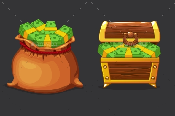 Full Bag and Chest of Money